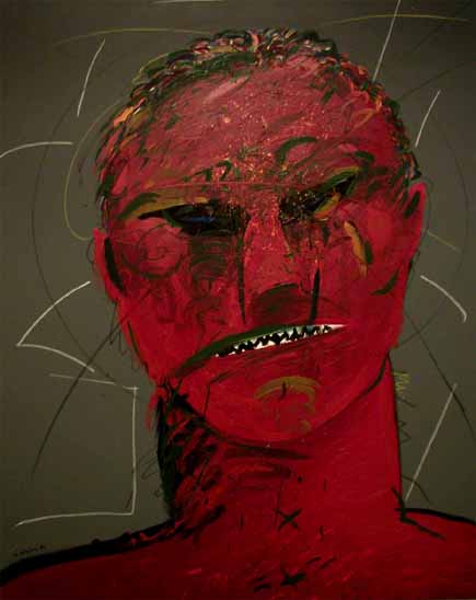 "Norman CATHERINE ""Red Face"", 1984 - acrylic/canvas 100x80 cm"
