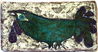 "Querubim LAPA ""Bird"", abt. 1963 - ceramic panel - 23x43x4 cm"