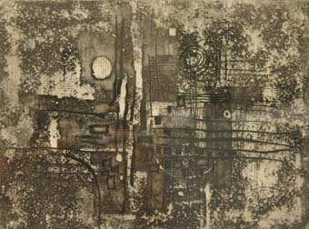 "Dirk MEERKOTTER ""Abstract landscape"", 1967 - etching 4/10 - 22.5x30 cm"