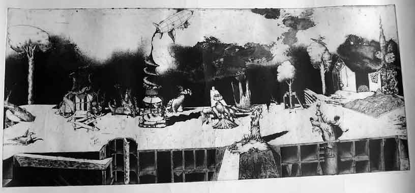 "Giulio TAMBELLINI ""A new proliferation of the kinds starts here"", 1989 - etching 20/20 - 38x88 cm"